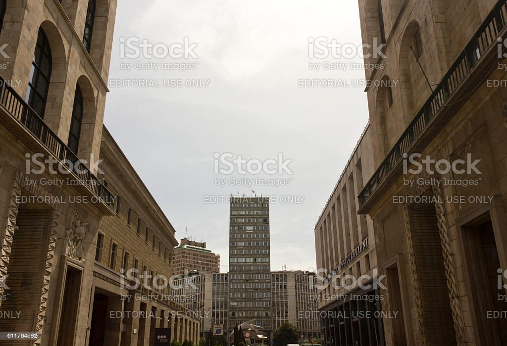 Ancient buildings in Milan stock photo
