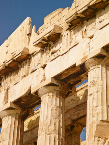 Acropolis, Greece  - April 18, 2008: Giant pillars in Acropolis, Greece