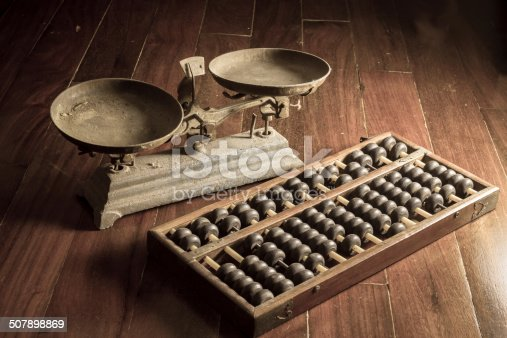 istock Ancient business tools,old scale and abacus 507898869