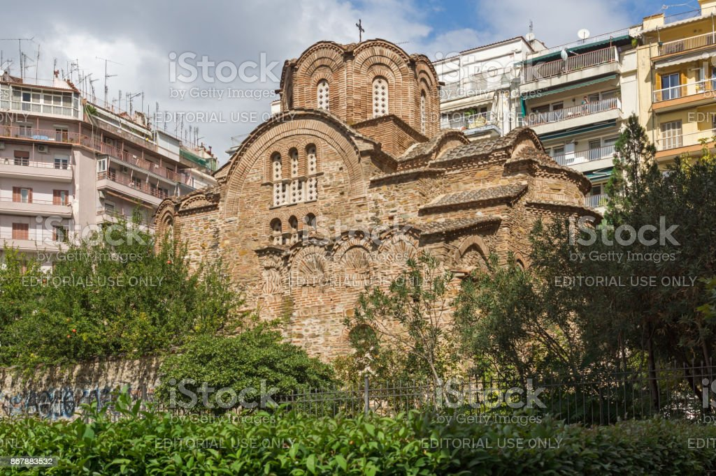 Ancient Byzantine Orthodox church of St. Panteleimon in the center of city of Thessaloniki, Central Macedonia, Greece stock photo