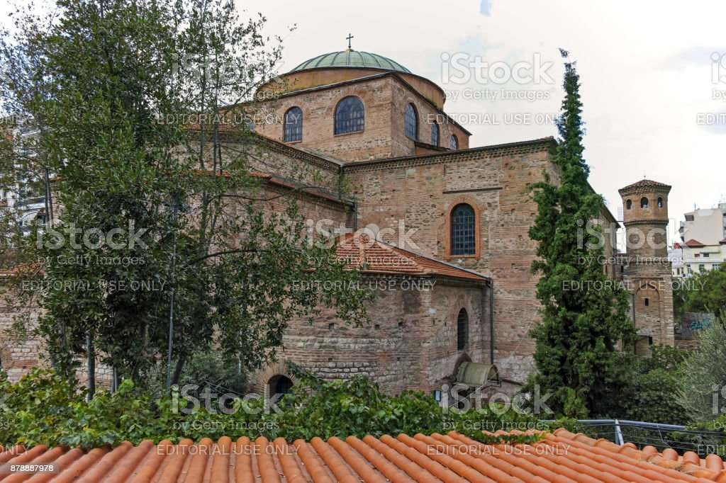 Ancient Byzantine Orthodox Hagia Sophia Cathedral in the center of city of Thessaloniki, Central Macedonia, Greece stock photo