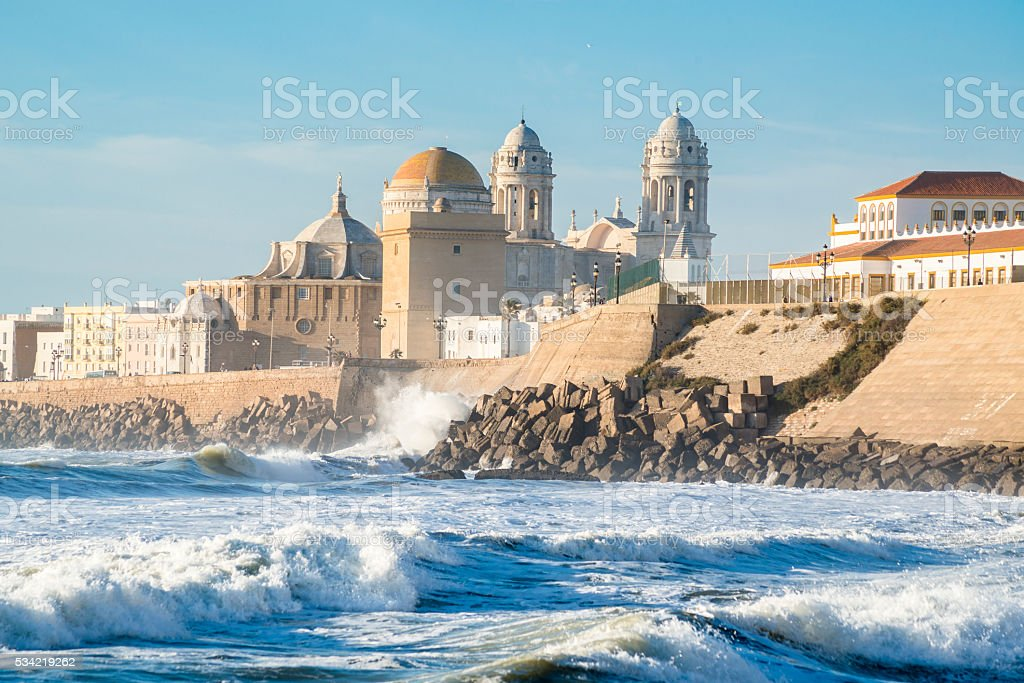 Ancient Cadiz Cathedral. Spain stock photo