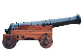 istock Ancient cannon on wheels isolated on white 1283181999