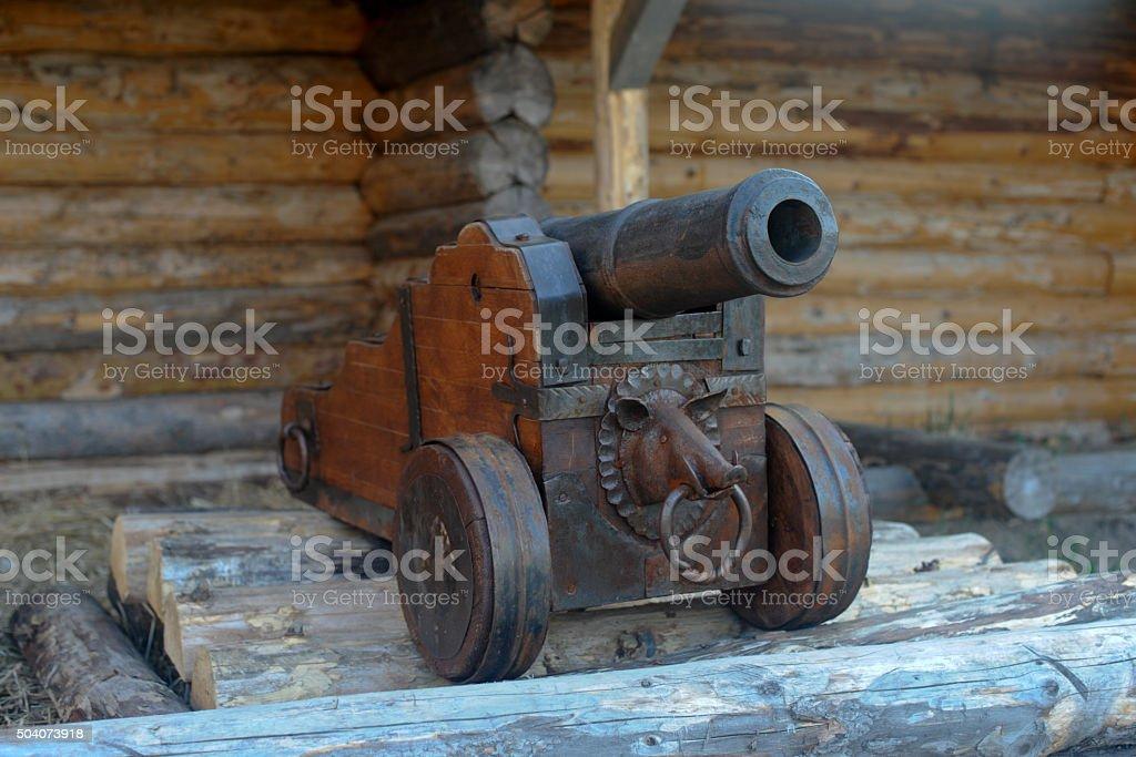Ancient cannon Siberian Cossacks stock photo