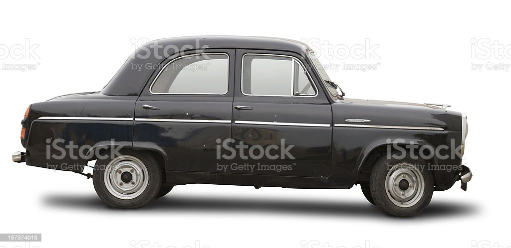 Ancient car isolated with clipping path stock photo