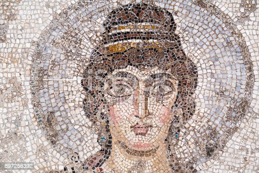Ancient mosaic detail from Carthage civilization in Tunşs, Tunisia
