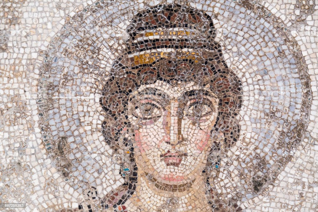 Ancient Carthage mosaic stock photo
