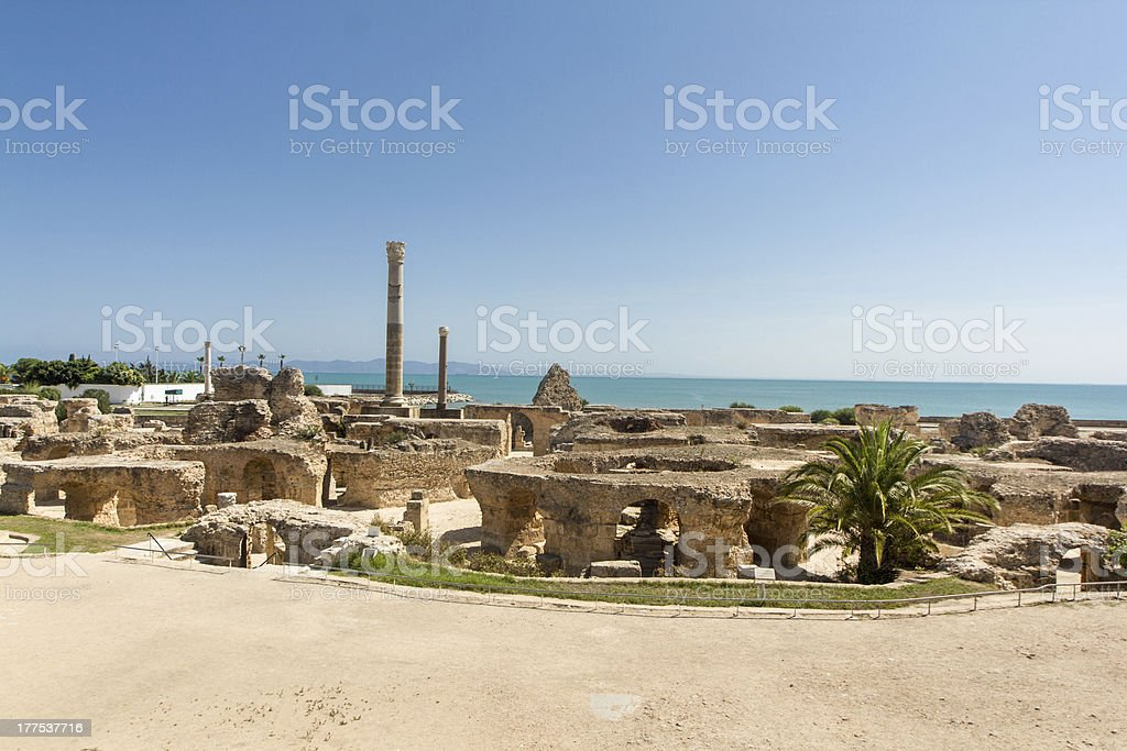 Ancient Carthage ruins stock photo