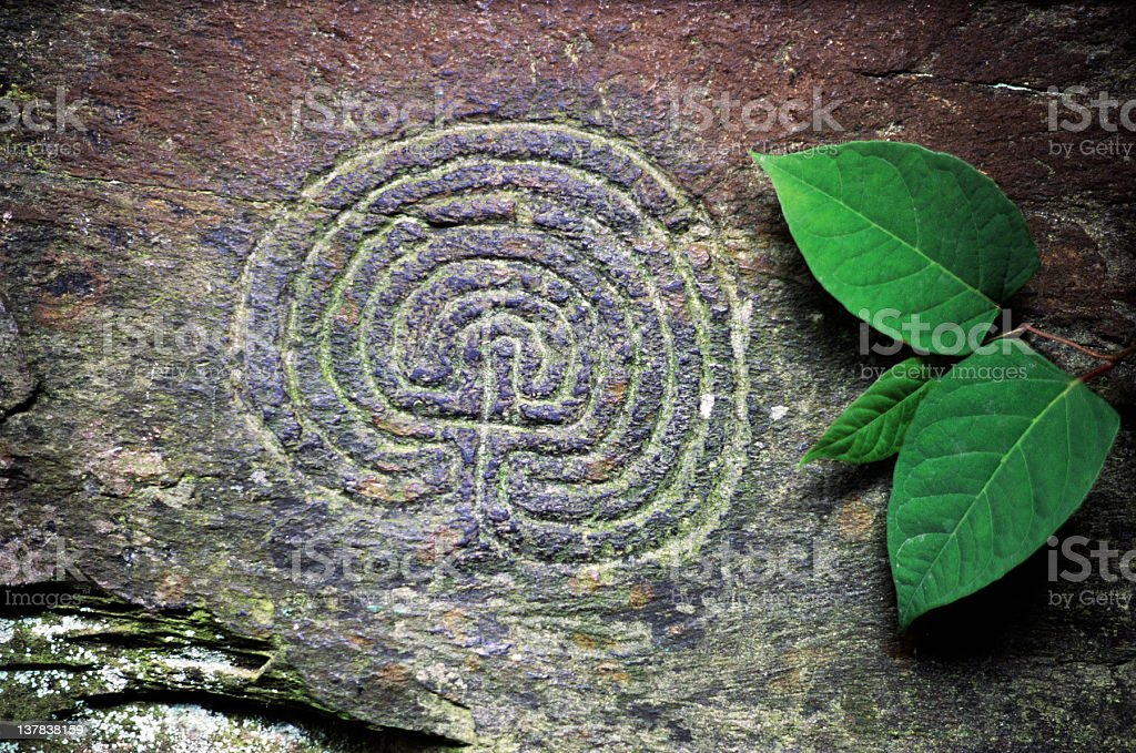 Ancient Carved Maze stock photo