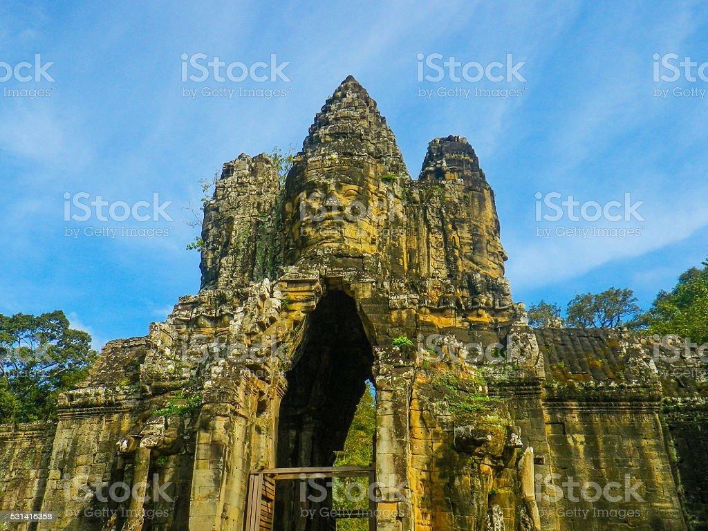 Ancient Carvings of Bayon Temple, Angkor Thom, Angkor Wat, Cambodia stock photo