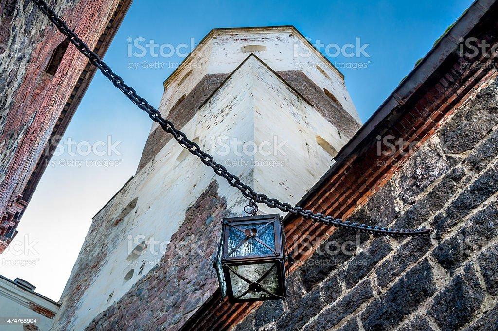 Ancient castle lantern stock photo