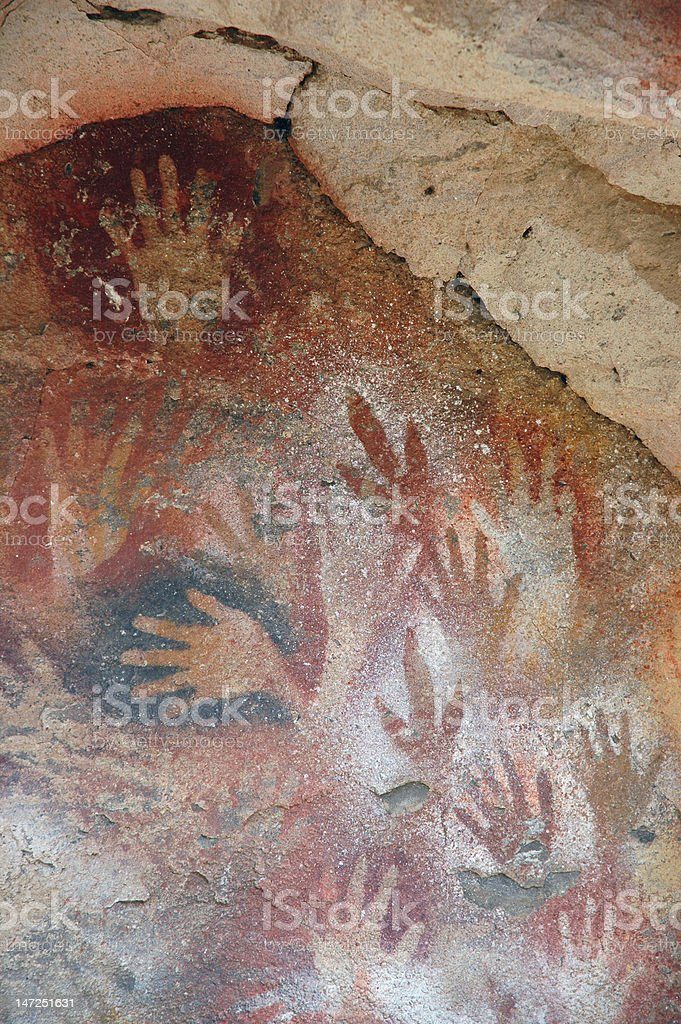 Ancient Cave Art, Human Hands, Rhea Feet royalty-free stock photo