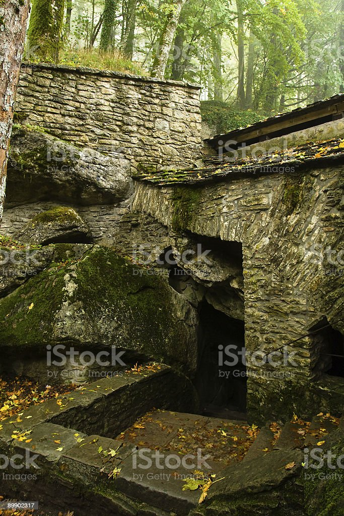 Ancient cave dwelling entrance royalty-free stock photo
