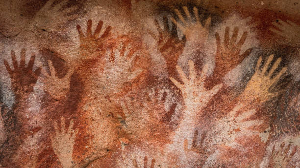 Ancient Cave Paintings at the Cave of Hands aka Cueva de Las Manos in Santa Cruz Province, Patagonia Argentina stock photo