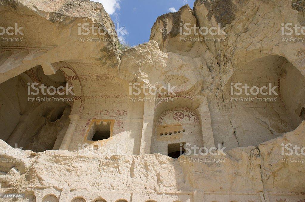 Ancient cavetown near Goreme, Cappadocia, Turkey stock photo
