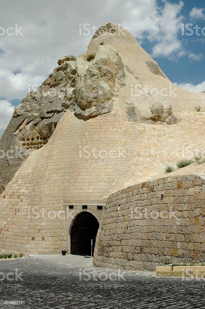 Ancient cave-town near Goreme, Cappadocia, Turkey stock photo
