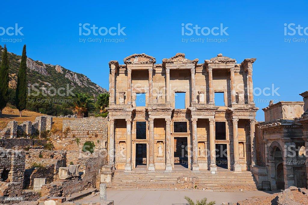 Ancient Celsius Library in Ephesus Turkey stock photo