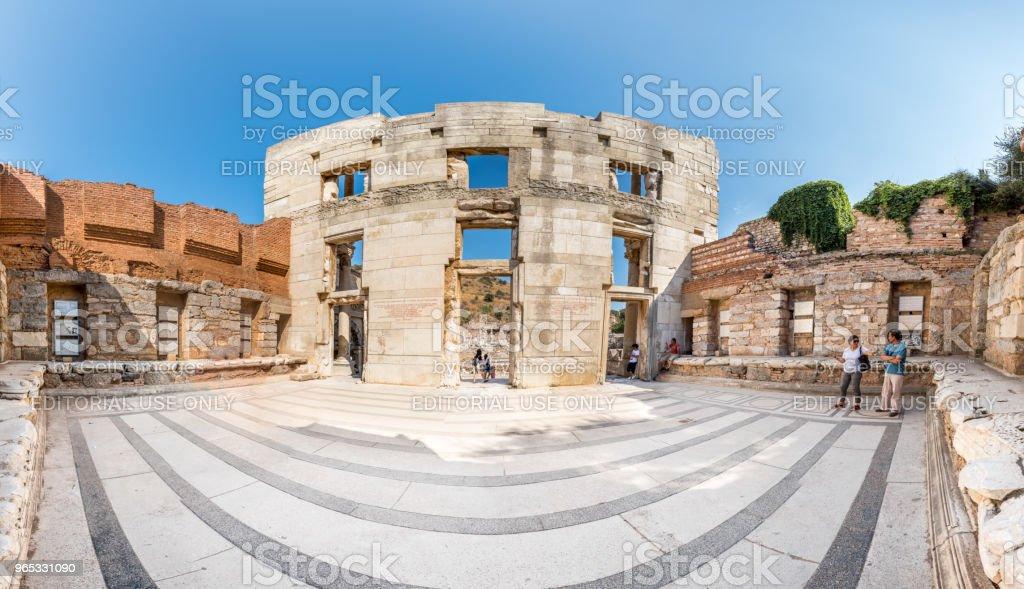 以弗所古城古塞爾蘇斯圖書館, 在塞爾丘克, 伊茲密爾, 土耳其 - 免版稅亞洲圖庫照片