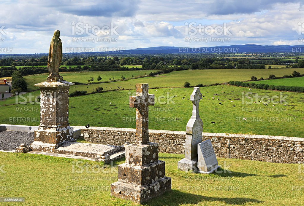 Ancient cemetery in the Rock of Cashel stock photo
