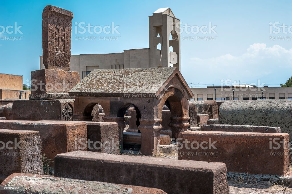 Ancient cemetery in the territory of the Etchmiadzin. stock photo