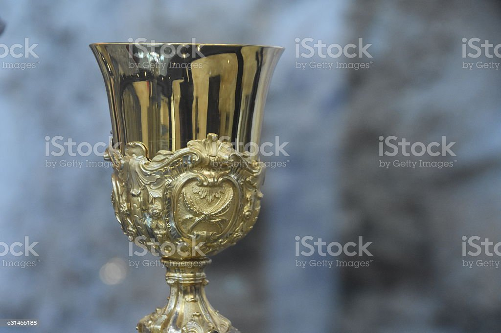 Ancient chalice of copper stock photo