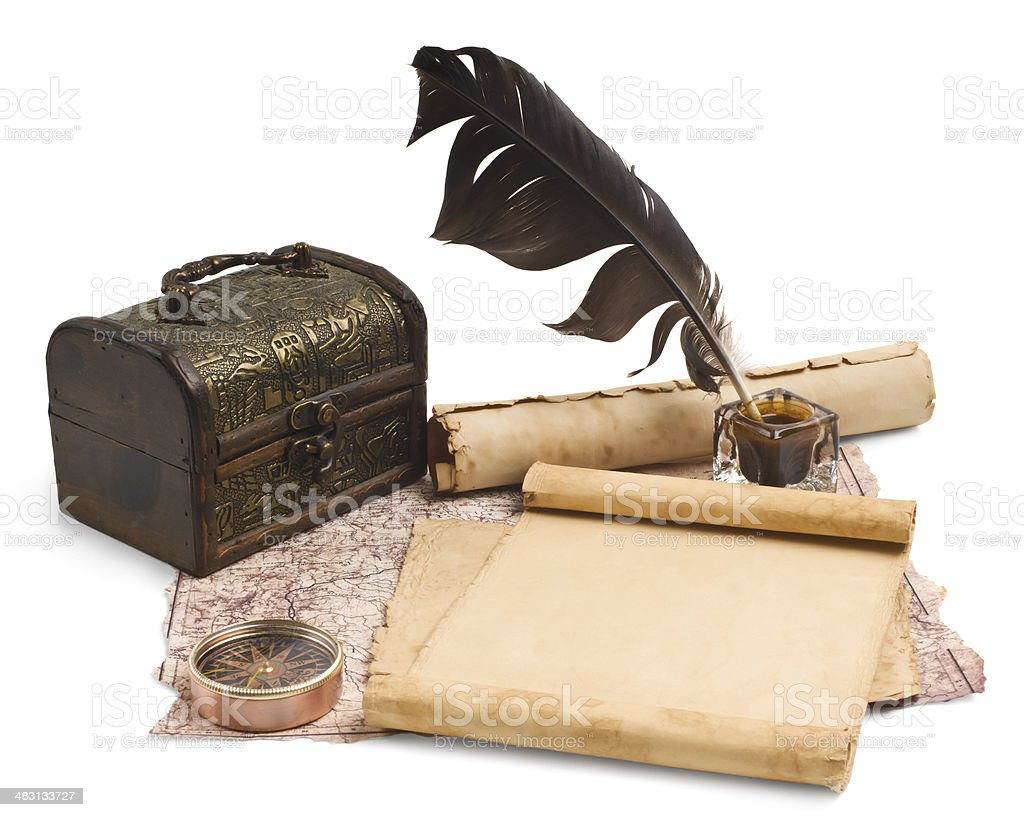 ancient chest with a paper royalty-free stock photo