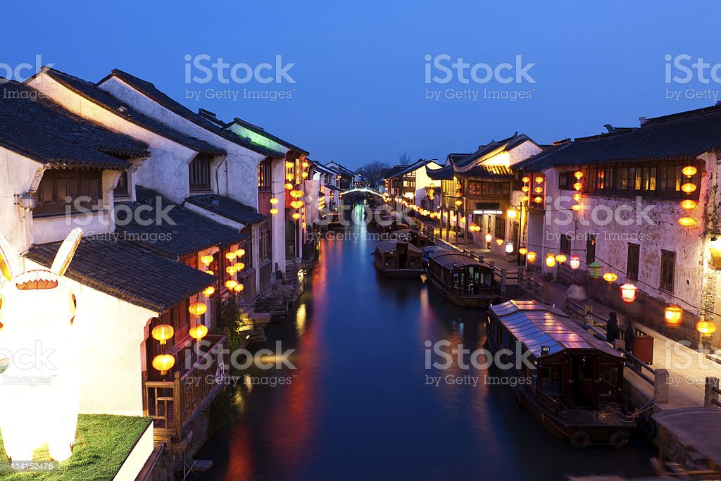 Ancient China at night royalty-free stock photo