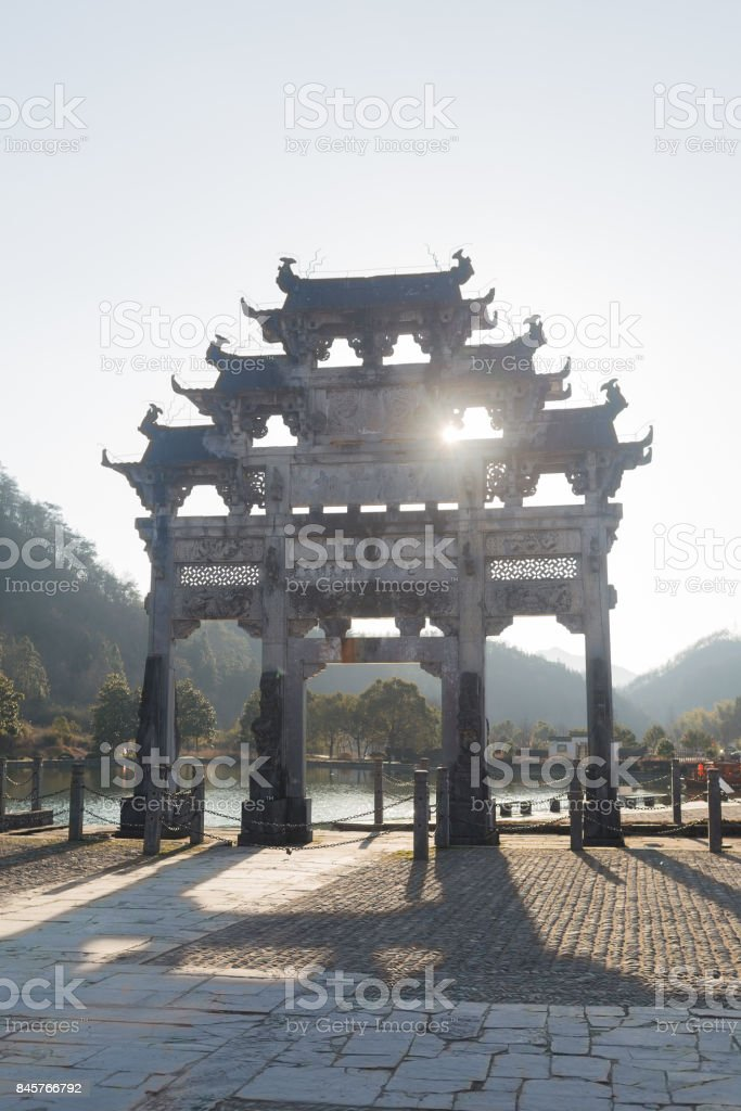 Ancient Chinese arch-Archway of Hu Wen-guang stock photo