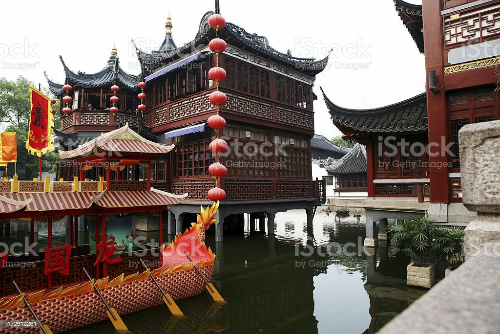 Ancient Chinese Architecture and Gardens royalty-free stock photo