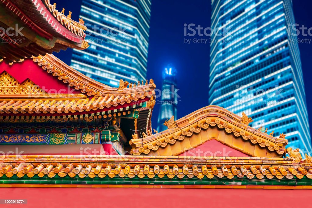 ancient chinese architecture and modern skyscraper stock photo