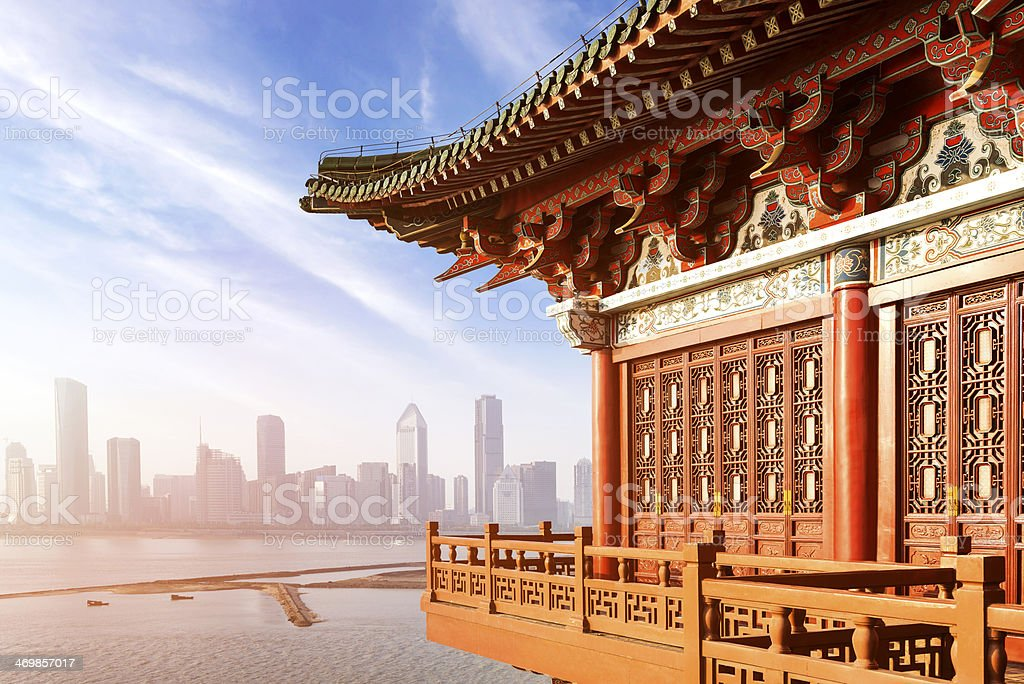 ancient Chinese architecture Blue sky and white clouds, ancient Chinese architecture: garden. Beijing Stock Photo
