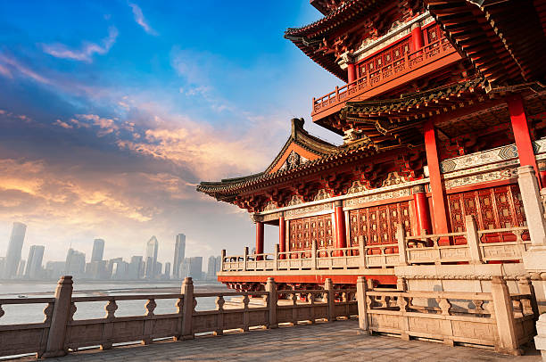 ancient chinese architecture - empire stock pictures, royalty-free photos & images
