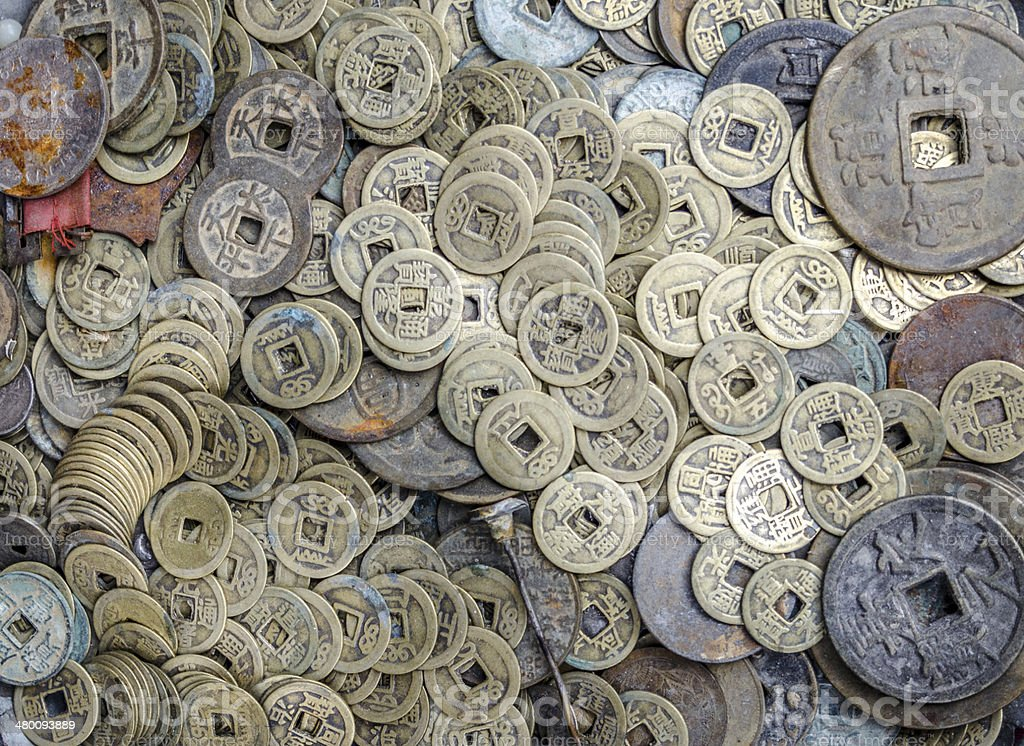 Ancient Chinese coins background stock photo