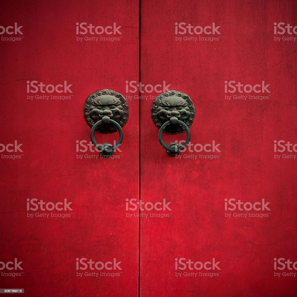 Ancient Chinese door stock photo