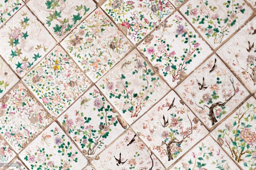 Chinesa antiga de azulejos - foto de acervo