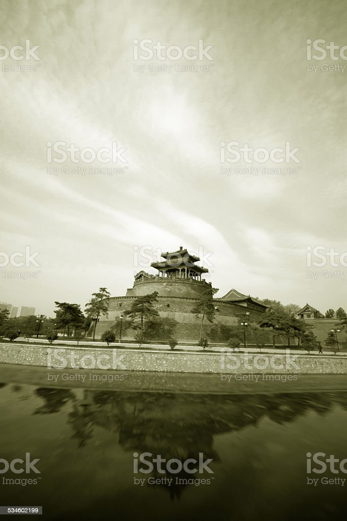 ancient Chinese traditional architecture in handan city stock photo