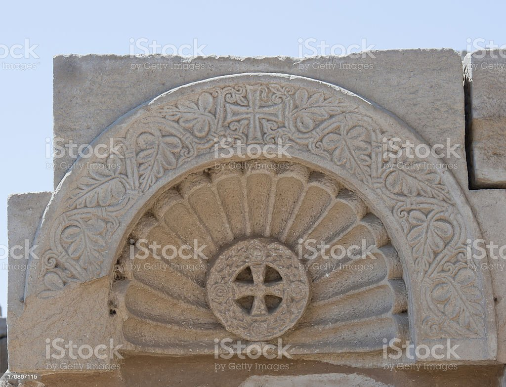Ancient christian carvings at an egyptian temple stock photo