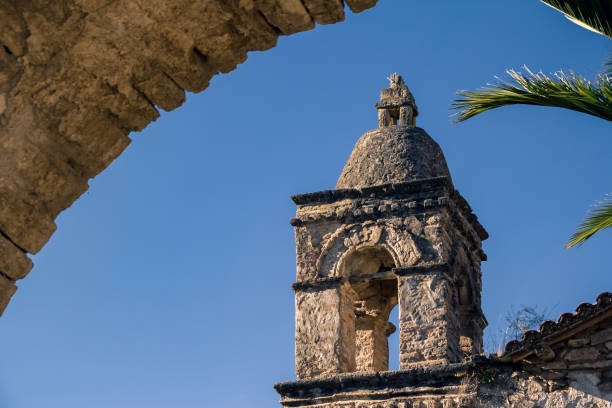 Ancient church bell tower stock photo
