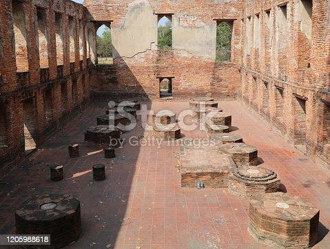 Ancient church hundreds of years old in Wat Kudi Dao at Ayutthaya, Thailand