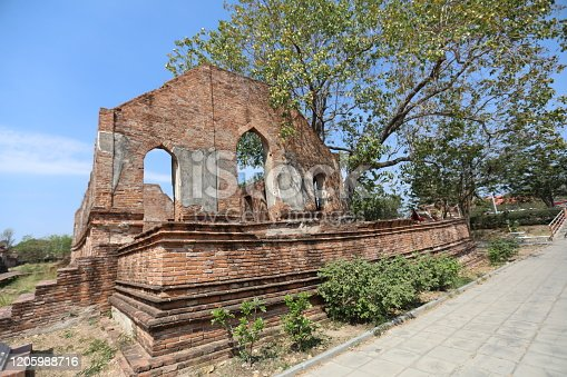 Ancient church hundreds of years old in Wat Kudi Dao at Ayutthaya, Thailand