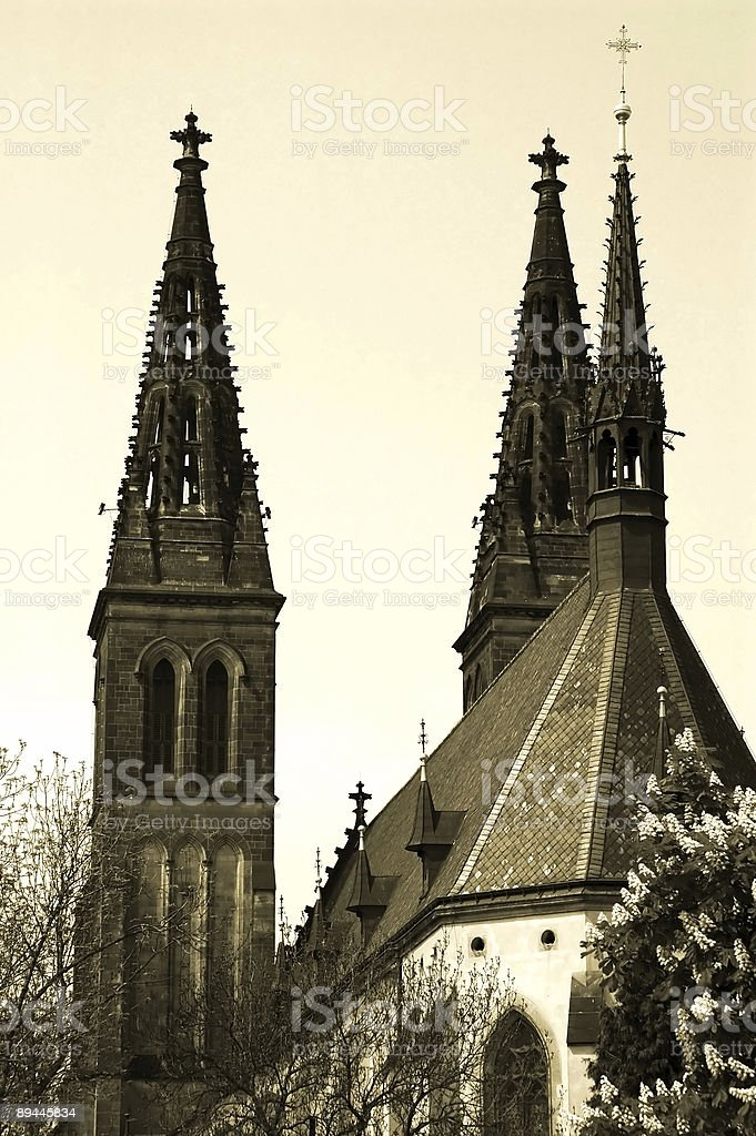 ancient church in Prague, Europe royalty-free stock photo