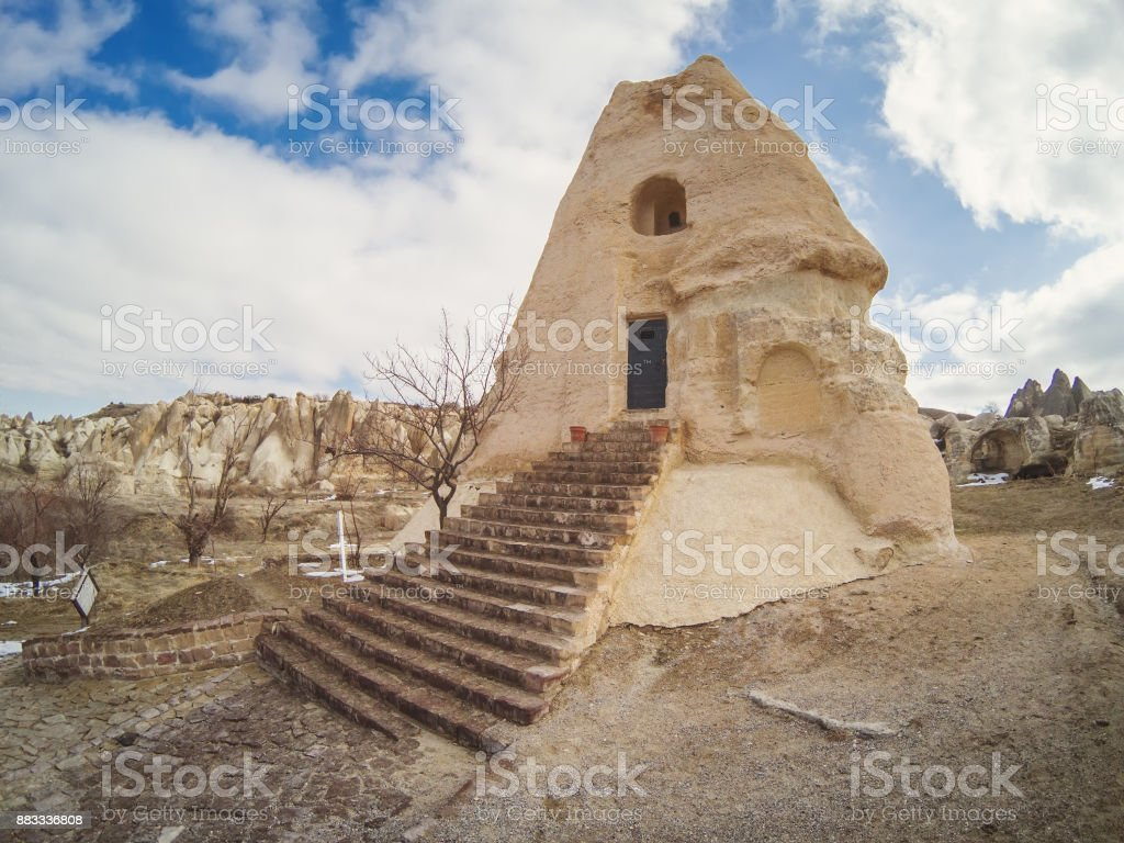 ancient church in the rock stock photo