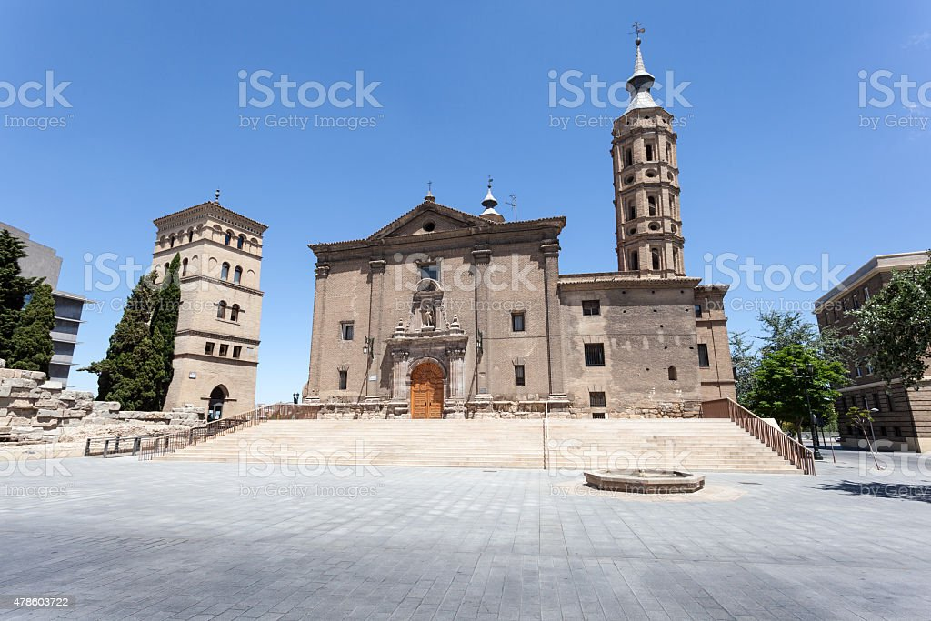 Ancient church in Zaragoza, Spain stock photo