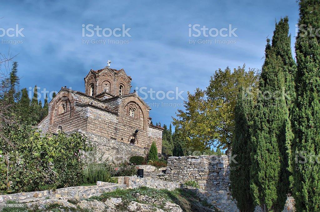 ancient church Jovan Kaneo on lake Ohrid, Balcan erusalem royalty-free stock photo