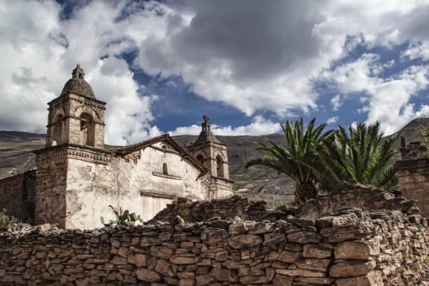 Ancient church of Peru stock photo