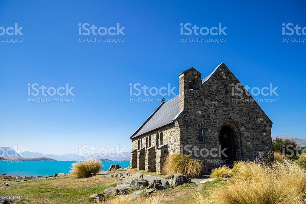 Ancient church on a lake stock photo