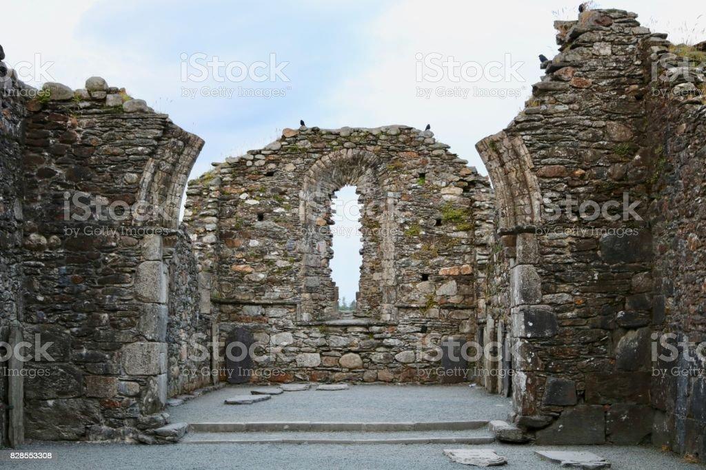 Ancient Church Ruins in Glendalough, Ireland stock photo