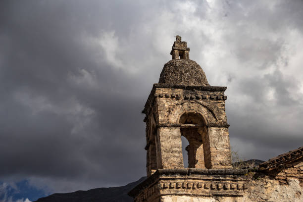 Ancient church tower of Peru stock photo