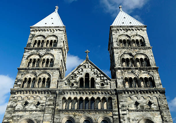 ancient church towers - lund stock photos and pictures