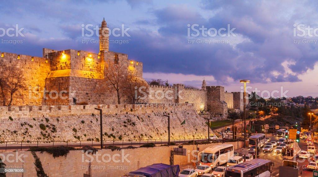 Ancient Citadel inside Old City at Night, Jerusalem stock photo
